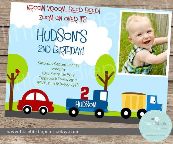 LITTLE CARS and TRUCKS Birthday Invitation by littlebirdieprints, $15.00