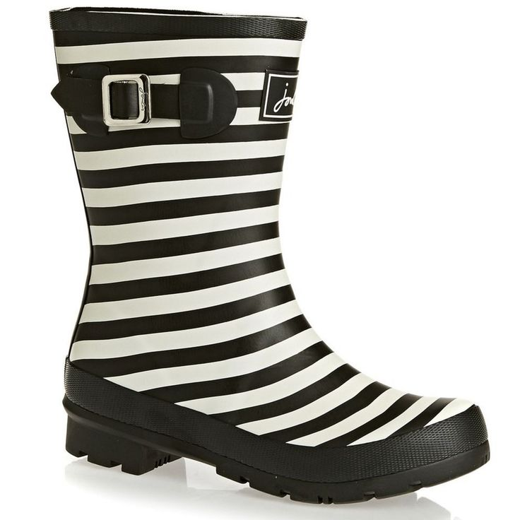 JOULES SALE Molly Welly Black White Stripe Rain Waterproof Short Rubber Boots 6M #Joules #Rainboots
