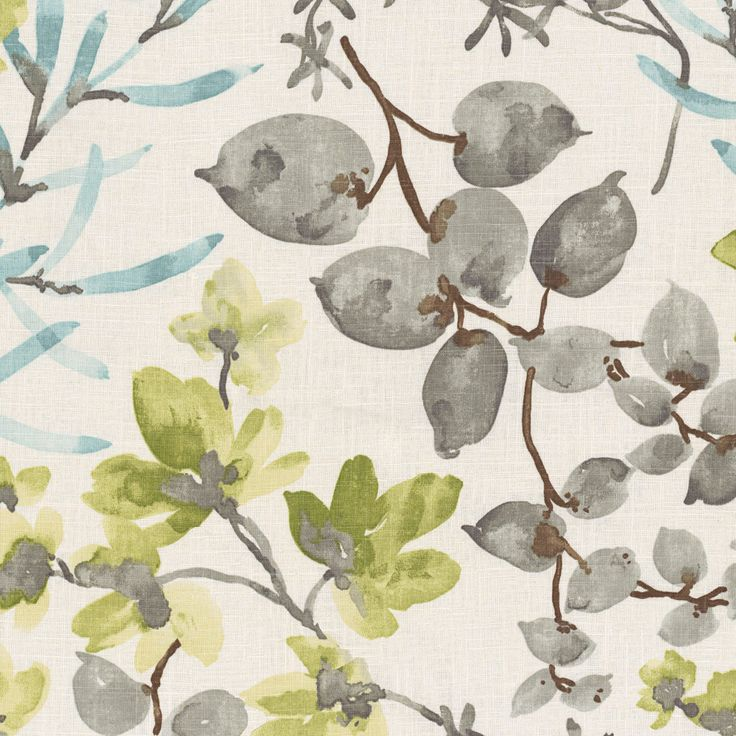 Aqua & Gray Watercolor Floral Fabric | Awash in the Park : Marine | Loom Decor
