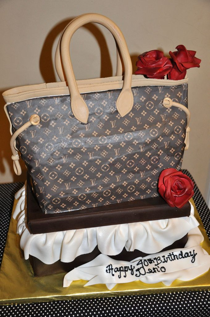 Louis Vuitton Purse cake on top of a Shoe Box | by thecakemamas