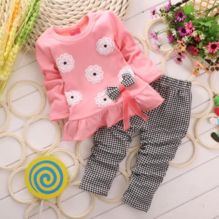 2015 nueva primavera Babi chica ropa niños arco de la flor traje lindo de 2 unids niños de manga larga Twinset tapa de la camiseta + pantalones a cuadros en Conjuntos de Ropa de Bebés en AliExpress.com | Alibaba Group