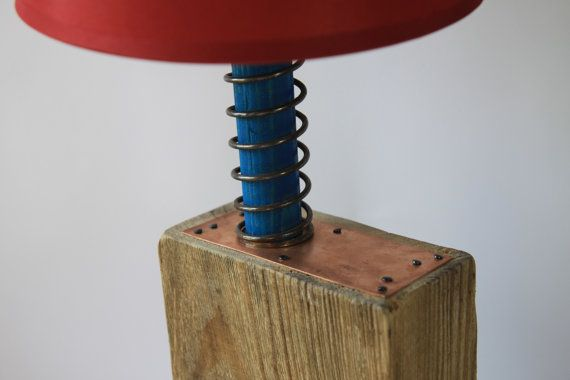 Handmade wooden lamp with red lampshade by BlauthHandMade on Etsy