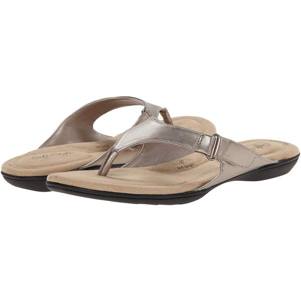 Soft Style Ezzo (Light Pewter Leather) Women's Sandals ($37) ❤ liked on Polyvore featuring shoes, sandals, metallic, strappy leather sandals, slip on sandals, metallic sandals, pewter sandals and velcro sandals