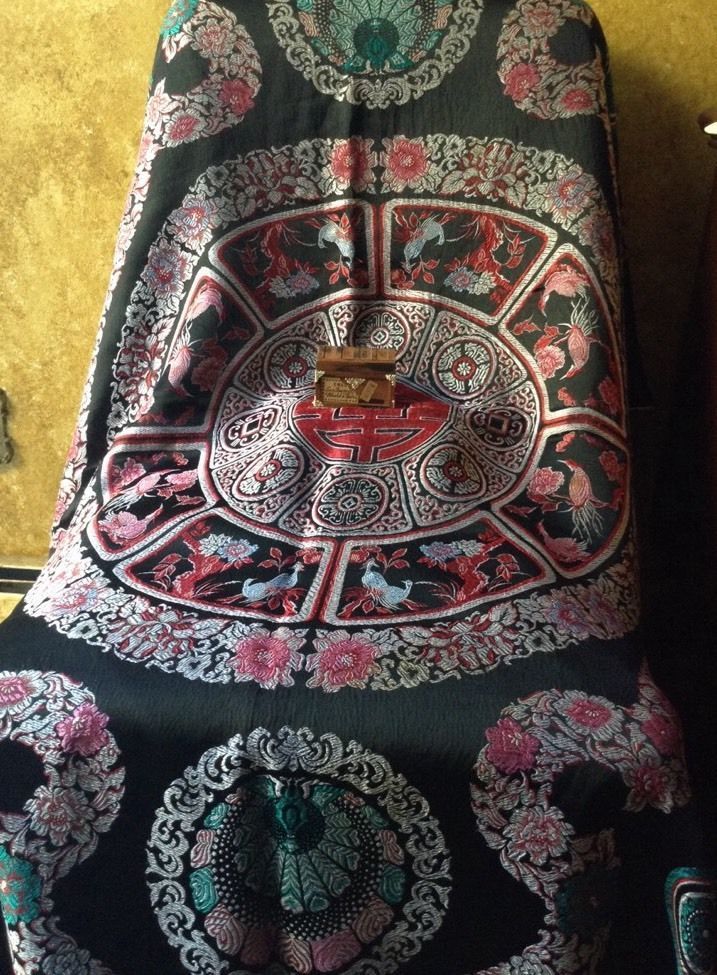 Vintage Antique Silk Brocade Asian Tapestry in Red Black Florals Birds | eBay