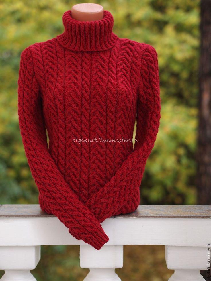 Купить Бордовый шерстяной свитер - бордовый, свитер, свитер вязаный, свитер женский, свитер спицами