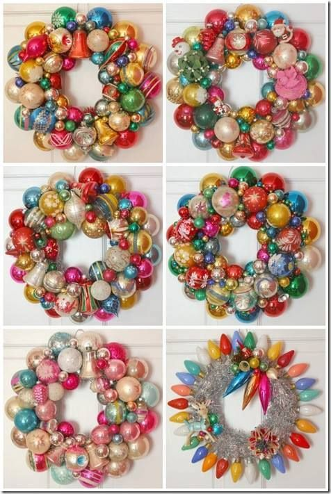 How to make a Christmas wreath out of vintage ornaments http://retrorenovation.com/2010/12/11/how-to-make-a-christmas-wreath-out-of-vintage-ornaments/ pinned with Pinvolve - pinvolve.co