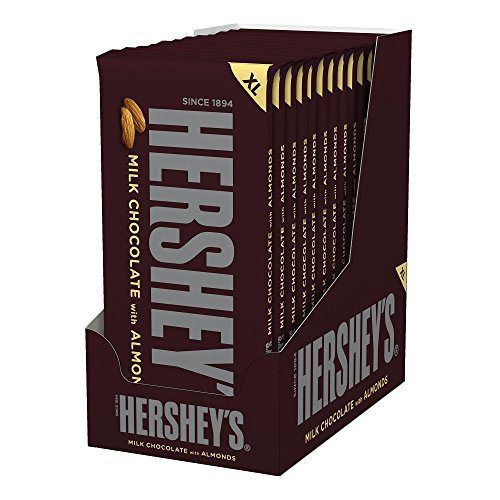 Hershey's Milk Chocolate Bar with Almonds, 4.25-Ounce Bars (Pack of 12) - http://bestchocolateshop.com/hersheys-milk-chocolate-bar-with-almonds-4-25-ounce-bars-pack-of-12/