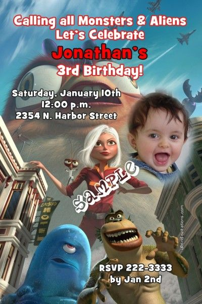 Monsters vs. Aliens Birthday Invitations   Get these invitations RIGHT NOW. Design yourself online, download and print IMMEDIATELY! Or choose my printing services.   No software download is required. Free to try!