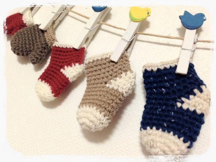 ミニチュアくつ下の編み方How to crochet miniature socks  by meetang