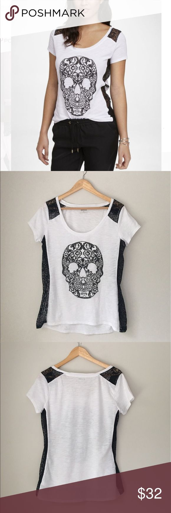 Express Sequin & Lace Skull Tee Size Medium Lovin' this! Lace & Sequin black and white skull tee by Express. Size Medium. EUC. Express Tops Tees - Short Sleeve