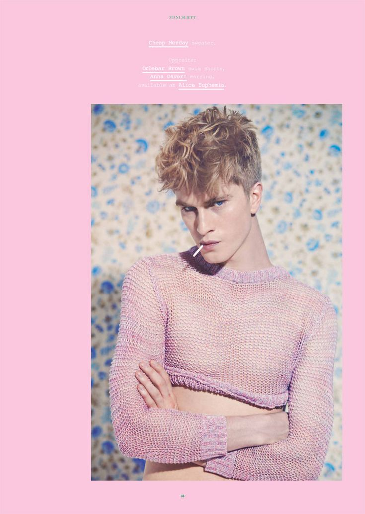 Blue for boys? How terribly old fashioned. This season's key palette is distinctly romantic, and you needn't stop an just one piece. I'ts time to think pink. Charlie Alexander is the prince captured by Liz Ham for latest issue of Manuscript Magazine.