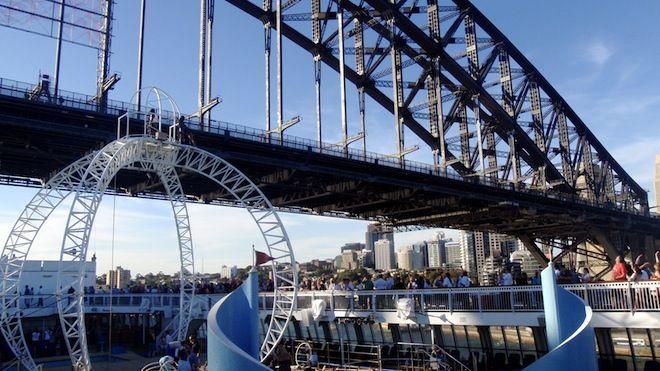 Pacific Jewel sails under Sydney Harbour Bridge