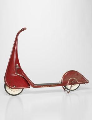 John Rideout and Harold Van Doren. Skippy-Racer scooter. c. 1933. Steel, paint, wood, rubber, 31 3/4 x 43 3/16 x 6 1/2 in. Minneapolis Institute of Arts.