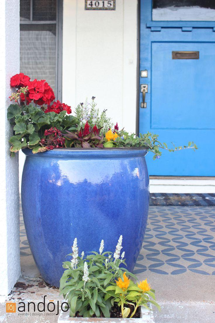 Blue Ceramic Planter with Geranium, Lavander, Celosia, and Salvia - project of my own. Nice Spring Idea. Ceramic Planter, Blue Planter, Blue Door, Moroccan Floor, Stencil Floor, Royal Design Studio, Andojo, Welcome Mat, Target Door Mat.
