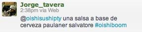 @Jorge_tavera nos pidió por Twitter: @oishisushipty una salsa a base de cerveza paulaner salvatore #oishiboom