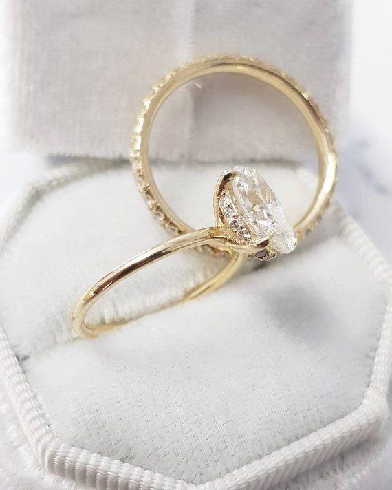 2 Carat Oval Diamond Bridal Engagement Ring Set Hidden Halo | Etsy #2caratengage…