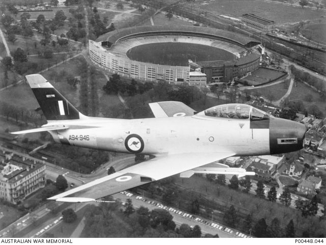 CAC Sabre of the RAAF Air Research & Development Unit (ARDU) over Melbourne during Sidewinder missile flight testing in 1959