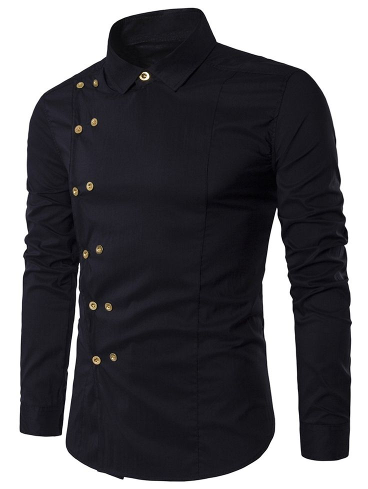 Turndown Collar Double Breasted Long Sleeve Shirt