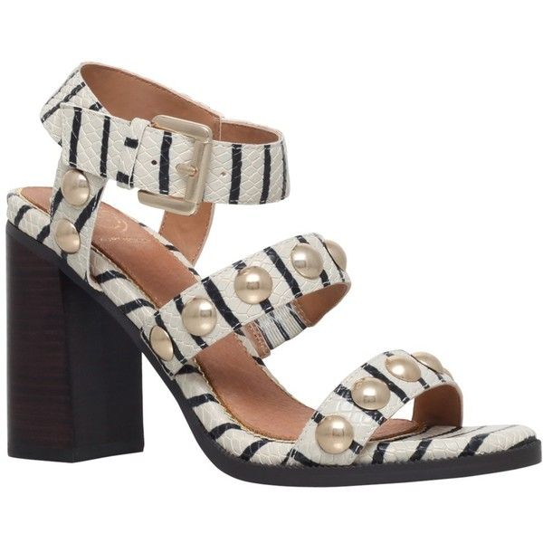 KG by Kurt Geiger Nutty Studded Block Heeled Sandals, Beige Stripe (€130) ❤ liked on Polyvore featuring shoes, sandals, beige stripe, strappy sandals, block-heel sandals, ankle strap flat sandals, flat sandals and flat shoes