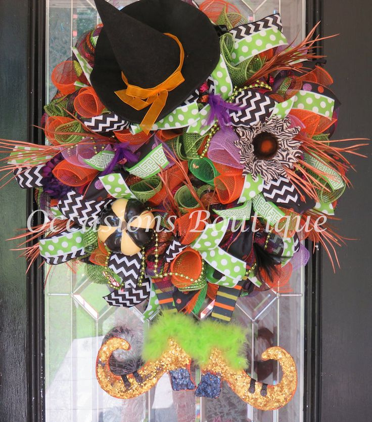 Wicked Witch Halloween Wreath, Halloween Decoration, Halloween Party Decor, Large Wreath, Double Door Wreaths, Very Limited Availability by OccasionsBoutique on Etsy
