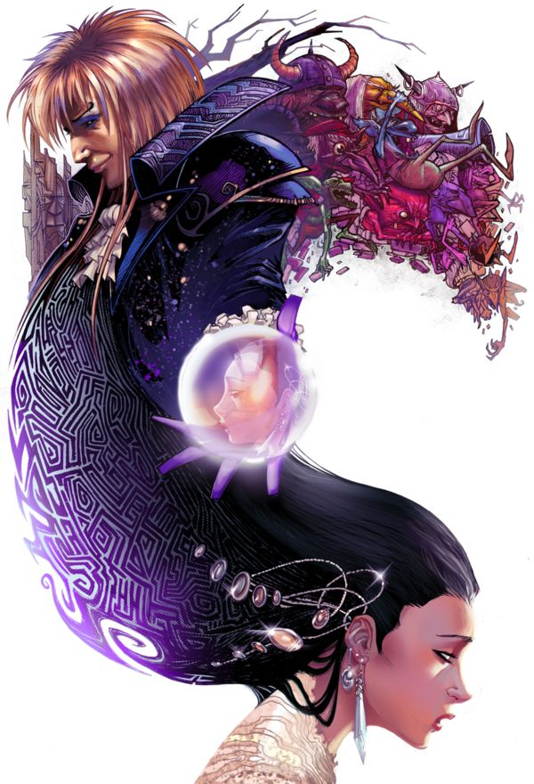 The first antagonist to make me fall for the bad boy was Jareth.  Oh, to have been Sarah and danced within a bubble.  ;)  Great art piece.