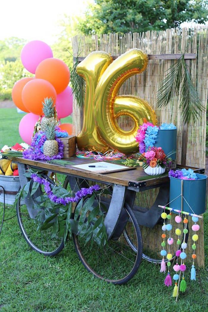 8cf99144f7 Tropical Sweet 16 Welcome Table from a Sweet 16 Luau on Kara's Party Ideas  | KarasPartyIdeas.com (7)