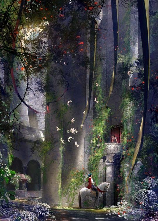 Fairy tales (via Amy Deschaine) [Princess & her prince inside castle complex] [Fantasy]