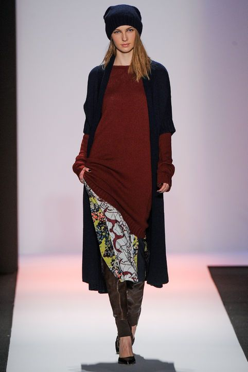 Lots of layers but they are all thin, pants, dress, tunic and a sweater Layering Lessons from BCBG Fall 2013