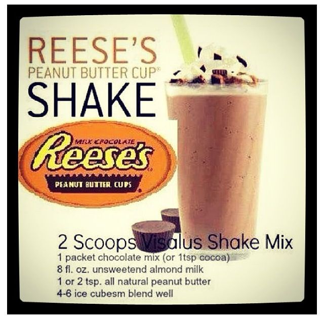Reese's Peanut Butter Cup vi shake recipe. Get Health Lose Weight Www.ginacaldwell.bodybyvi.com