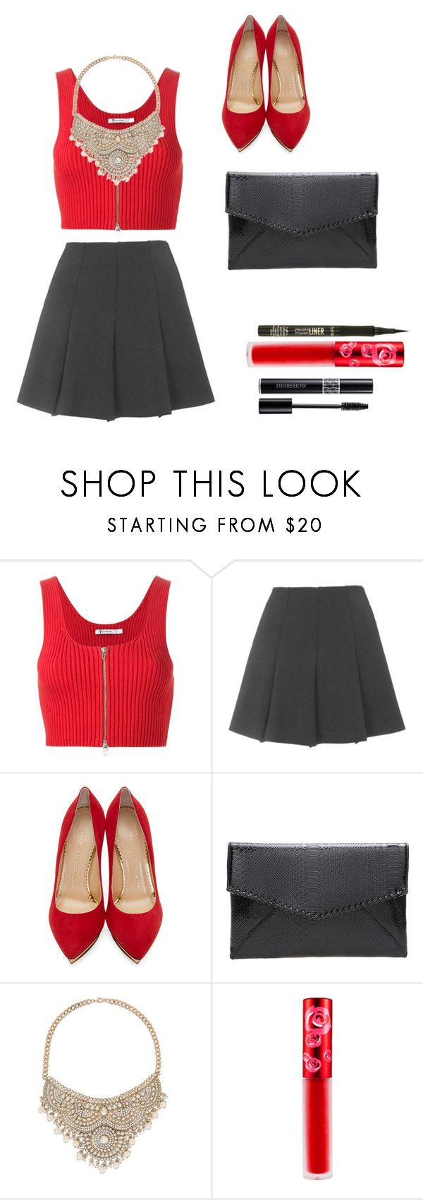 """""""Attacked by Paparazzi"""" by frazzlebear ❤ liked on Polyvore featuring T By Alexander Wang, Topshop, Charlotte Olympia, Bebe, Lime Crime, Christian Dior and tarte"""
