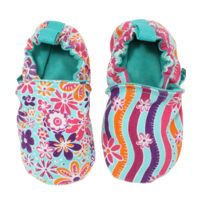 WeeChooze in Charm Pink Weechooze Baby Booties: Designed to delight tiny toes and engage little inquisitive minds, weechooze features CHOOZE's signature coordinating prints, stimulating colors, super soft microfiber lining, elasticized ankles, and non-slip soles. Available in 3 sizes: 0-6 months, 6-9 months, and 9-12 months.