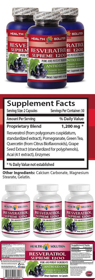 Body Fat Analyzers: Green Tea - Resveratrol Supreme 1200 - Lose Weight - Antioxidant - 3 B 180 Ct BUY IT NOW ONLY: $31.95