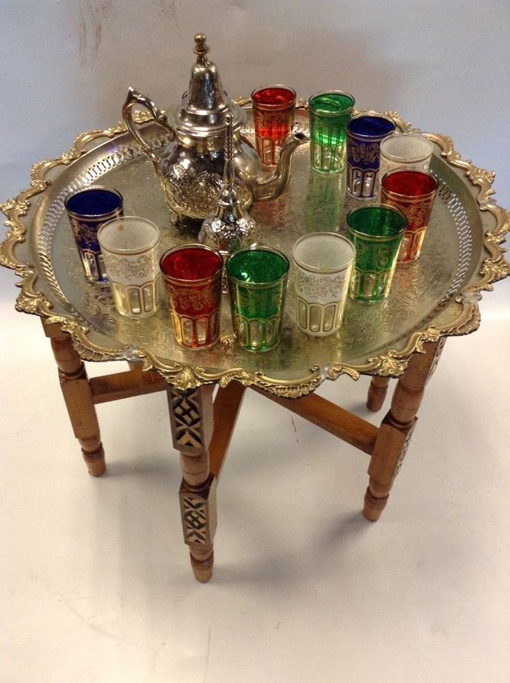 Vintage Traditional Moroccan Tea Folding Table & Silver Teapot 6 Glasses Set #Mediterranean #Fes