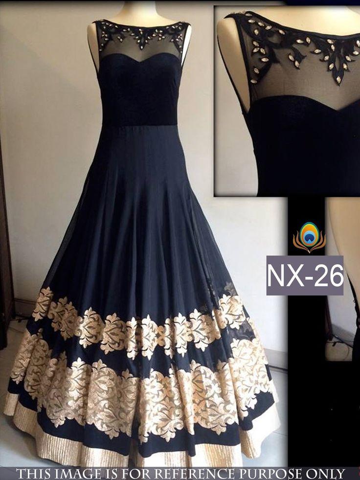 60+Gm+Georgette+Machine+Work+Black+Semi+Stitched+Long+Anarkali+Suit+-+NX26 at Rs 2399