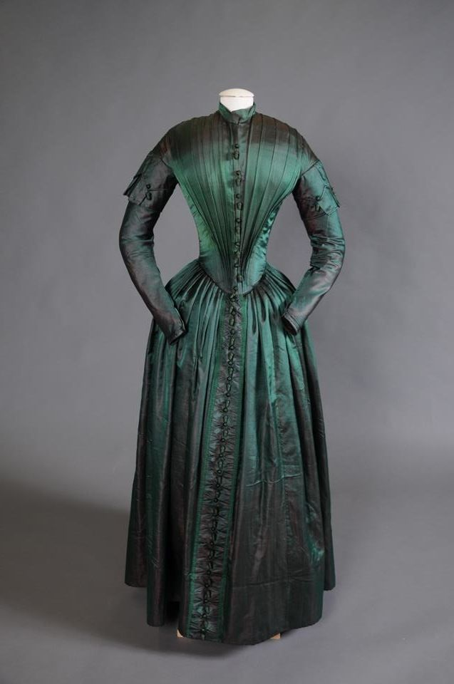 green silk 1840s dress restored by Shippensburg University Fashion Archives and Museum (SUFAM)    https://www.facebook.com/photo.php?fbid=493516750670720=a.138994706122928.18498.118377364851329=3=https%3A%2F%2Ffbcdn-sphotos-f-a.akamaihd.net%2Fhphotos-ak-snc6%2F221573_493516750670720_267749615_o.jpg=https%3A%2F%2Ffbcdn-sphotos-f-a.akamaihd.net%2Fhphotos-ak-snc7%2F479724_493516750670720_267749615_n.jpg=1072%2C712