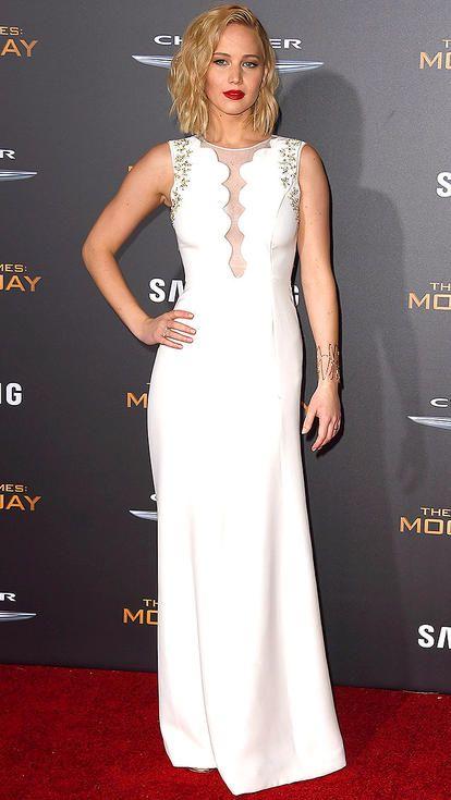 Jennifer Lawrence in a white sheer-cutout Dior dress