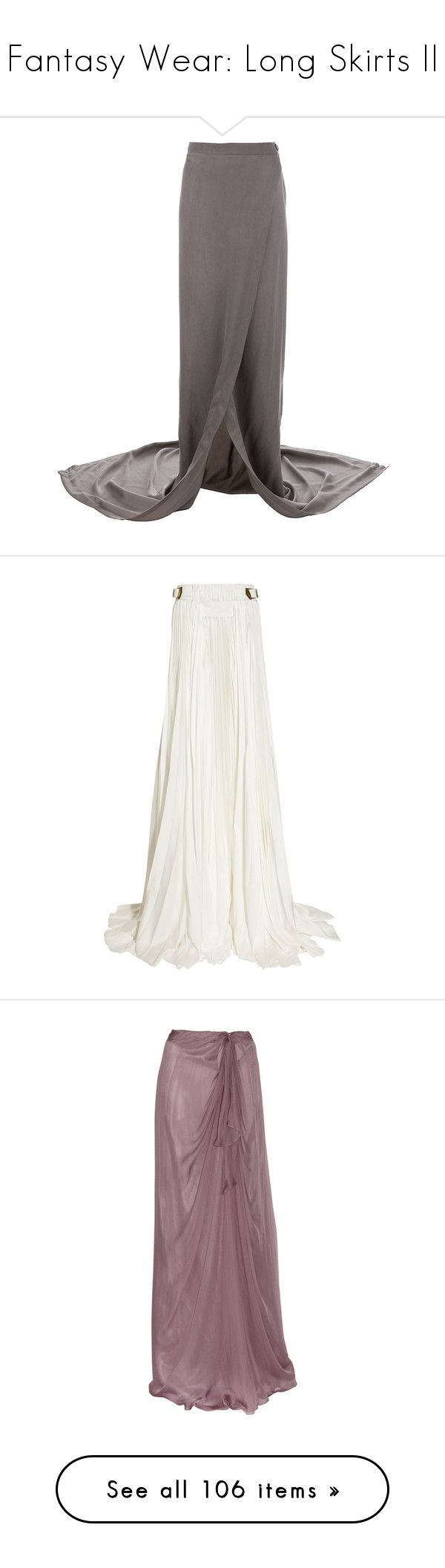 """""""Fantasy Wear: Long Skirts II"""" by savagedamsel ❤ liked on Polyvore featuring skirts, bottoms, ankle length skirt, maxi length skirts, long skirts, maxi skirt, grey skirt, dresses, balmain and long pleated maxi skirt"""