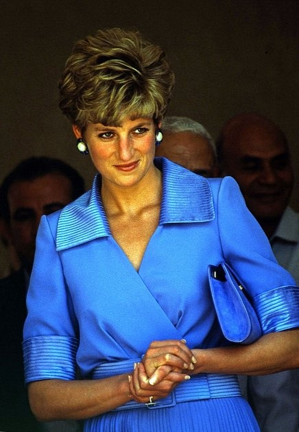 Princess Diana makes an official visit to Egypt and visits a center for the blind. May 11, 1992