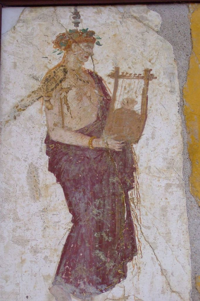 Roman fresco of a citharist recovered from Vesuvian Ash in Stabiae 1st century BCE-1st century CE (19) | par mharrsch
