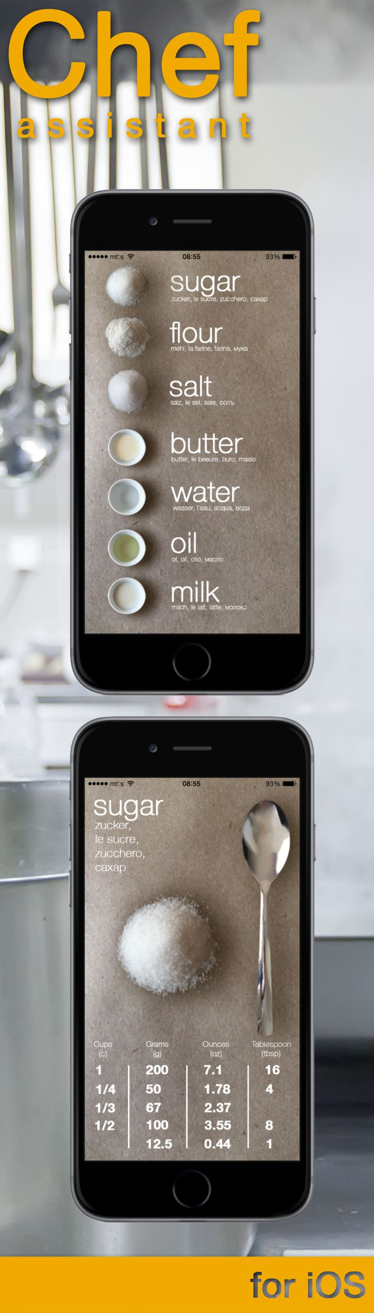 CHEF ASSISTANT is an app for simple measurement of groceries in a recipe. Chef assistant by GRGA iOS apps&games https://appsto.re/us/A-_66.i
