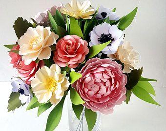 Bouquet de papier - papier fleur Bouquet - Bouquet de mariage - fleur sauvage les tons de rose - Sahbby Chic - Custom Made - n'importe quelle couleur