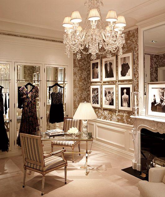 Glamorous walk-in wardrobe.