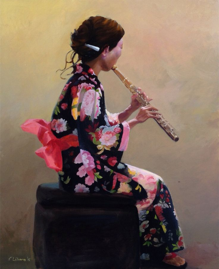 Musician, by Cyprian Libera, oil on canvas