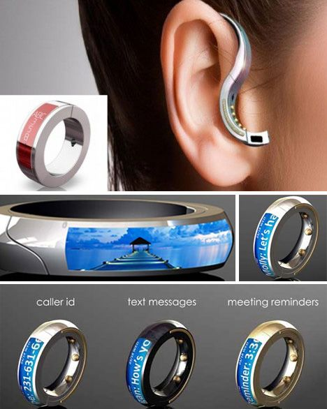 The Orb. This mobile headset doubles as a ring and can be used 30 feet away from your phone. It vibrates if you get a call, but also has a voice-to-text device so you can read messages on your ring. The future is HERE!! :)...Currently in shock!