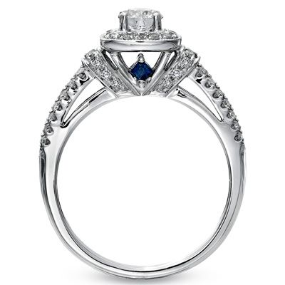 absolutely love this! ~ Vera Wang LOVE Collection 3/4 CT. T.W. Diamond Frame Engagement Ring in 14K White Gold - Zales