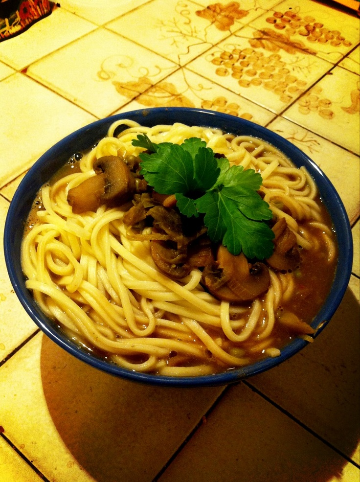 Vegan udon soup made by me