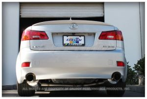 "GReddy Lexus IS250/IS350 2006-11 Evo3 Exhaust. Car Make: Lexus  Car Model: IS250/IS350  Car Year: 2006-11     Rear-section 60mm dual muffler exhaust system, SUS304  *Retains catalytic convertor, front pipe and mid pipe  GRE21, 2GR-FSE   Number of pieces:  2  Piping:  60mm (2.36"")   Tip: 102mm (4.0"")  Resonator:  No  Sound level:  84db @ 4,800RPM  *Data collected on stock vehicle"