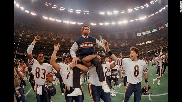 Chicago Bears head coach Mike Ditka is carried off the field by his players after the team won Super Bowl XX in January 1986. It is the Bears' only Super Bowl victory.