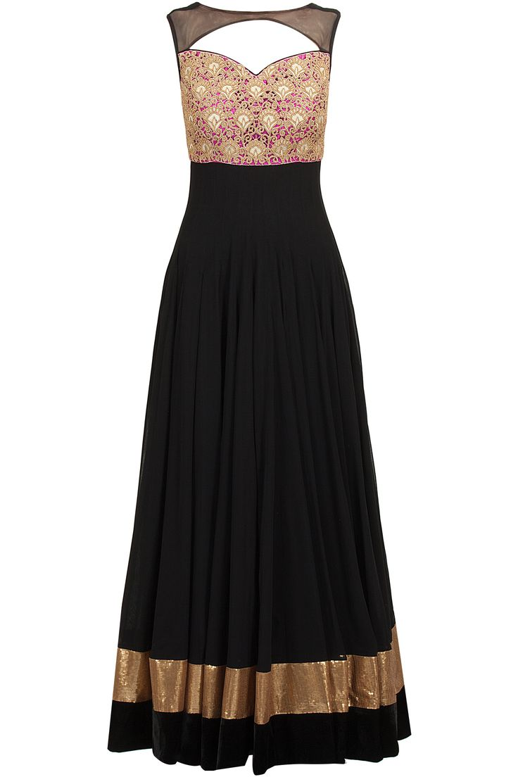 Black cutwork yoke anarkali: Featuring a black boat neck anarkali with pink embroidered cutwork yoke and sheer detailing around neck. It has a cut out back with tie-up strings detailing. It is paired with black churidaar and black net dupatta with pink border - AKSHAY WADHWA