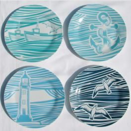 Whitby Plate Set inspired by 1950s linocuts, designed in the UK by Mini Moderns, £17.95 and comes in gorgeous gift box!  love :)